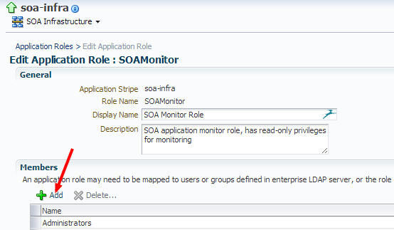 Edit Application Role soa-infra