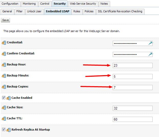 EmbeddedLdap backup settings