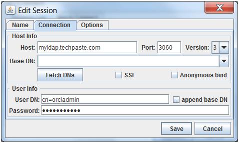 LDAP Admin Credentials screen