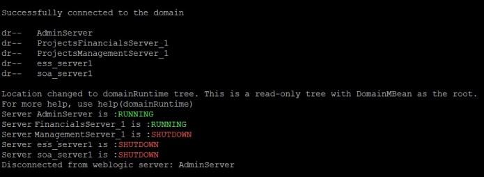 WLS All Server Status Output