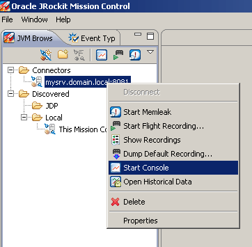 JRockit Mission Control Start Console