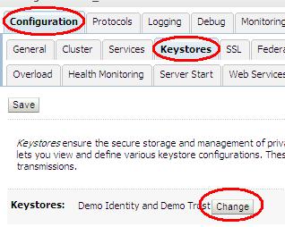 Server Keystore Configuration Page