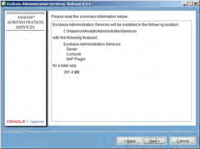 Installing Essbase Administration Services Installation Summary