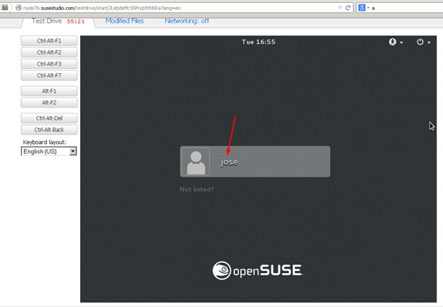 login screen suse studio