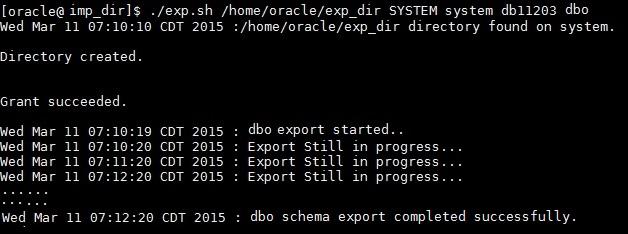 export DB script run output