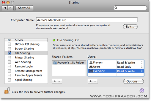 Navigate to File Sharing in Mac OS X