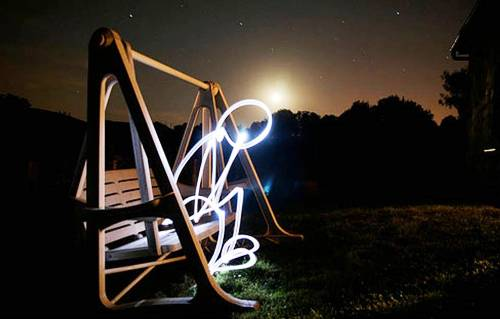 Light Painting Photography - Frustrated man