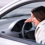 Woman falls asleep driving