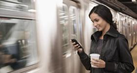 Smartphone on a train