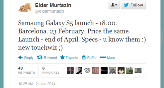 Murtazin Galaxy S5 rumours 21st Jan