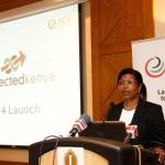 Ms. Eunice Kariuki, Dep. CEO ICT Authority giving the opening speech during the call for sponsorship breakfast for Connected Kenya 2014