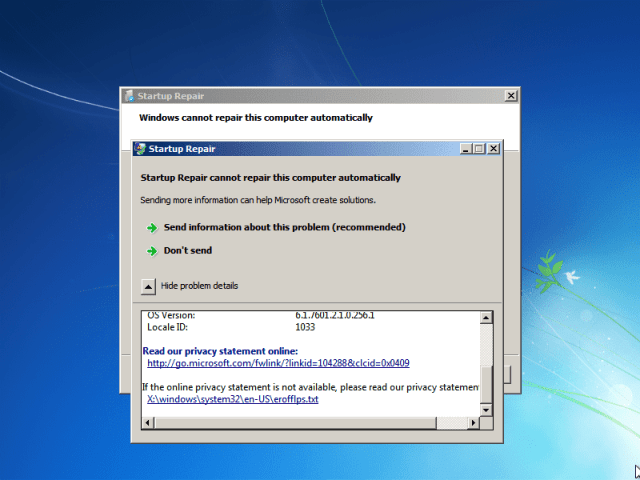 """Let the repair go through. If you get this window, select """"Cancel."""""""