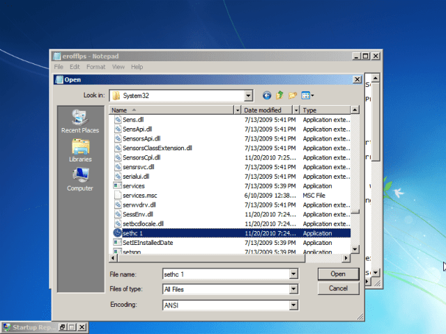 """Go to Windows/System32. Now do EXACTLY as I say, or you MIGHT break the computer. Under """"Files of type,"""" select """"All files."""" Scroll down and find """"cmd,"""" then make a copy of it in the same folder (Ctrl-C, Ctrl-V). You should get a file named """"cmd - Copy"""" or something like that."""