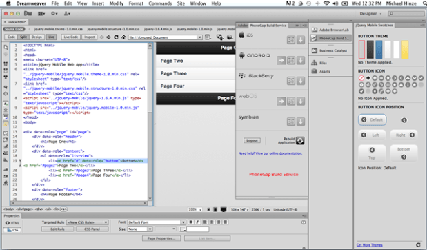 Dreamweaver mobile app
