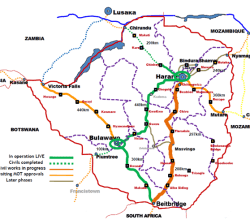 Econet Zimbabwe terrestrial fibre map