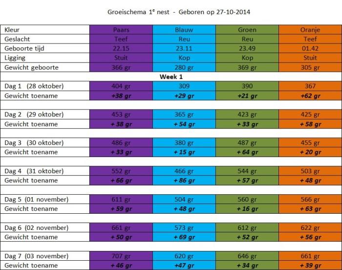 groei tabel WEEK 1