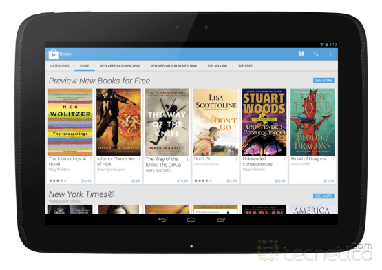 Google Play Store en una Nexus 10 de Google