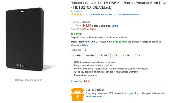 Toshiba Canvio USB 3.0 en Amazon