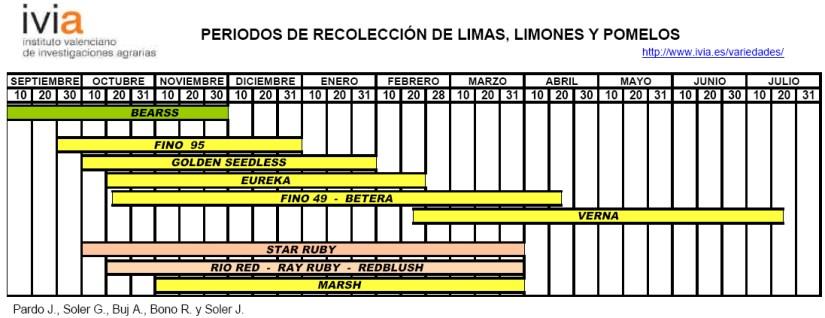 Produccion integrada citricos Calendario de recoleccion limas limones y pomelos