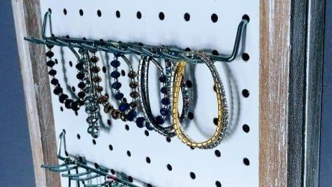DIY Rustic Pegboard Jewelry Organizer TeeDiddlyDeeTeeDiddlyDee