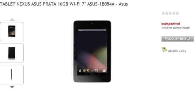 Nexus 7 chegando ao Brasil