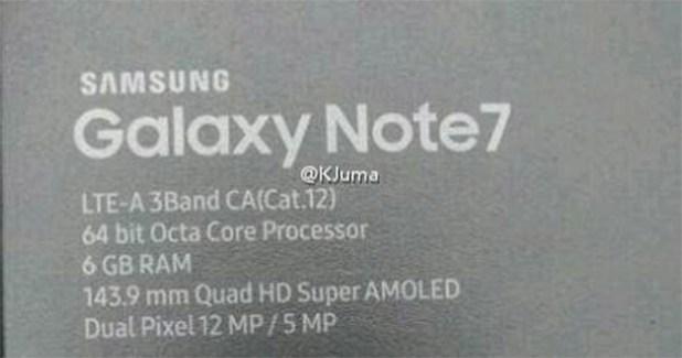 caja samsung galaxy note 7 de 6gb ram