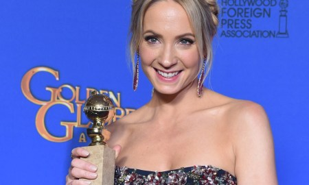 """Actress Joanne Froggatt holds the award for Best Supporting Actress - Series/Mini-Series/TV Movie """"Downtown Abbey"""", in the press room at the 72nd annual Golden Globe Awards, January 11, 2015 at the Beverly Hilton Hotel in Beverly Hills, California. AFP PHOTO / FREDERIC J BROWN        (Photo credit should read FREDERIC J. BROWN/AFP/Getty Images)"""
