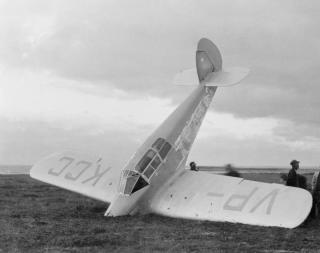 Markham's plane following her crash-landing in Nova Scotia