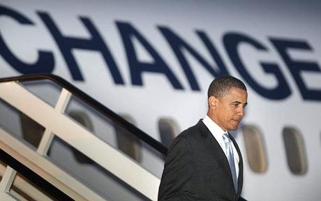 Barack Obama stepping out of his plane