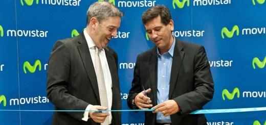 Santiago Quiñones, Country Manager de Celistics y Daniel Domínguez, vicepresidente Comercial Telefónica en la inauguración de la tienda Movistar. Imagen: Celistics