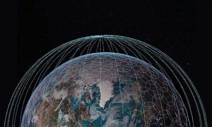 Diagrama da cobertura de satélite pretendida pela OneWeb