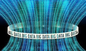 Futuristic vector backdrop and binary code and the words big data