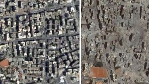 The hamlet of Dahiya, Beirut, gave its name to the Israeli doctrine that targets and destroys villages of civilians (Photo: before and after the Israeli assault, Google Earth/ Amnesty International).