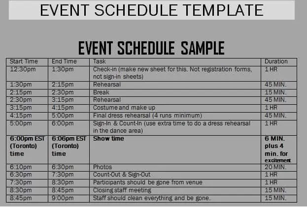 Daily Schedule Of Events Template  Imvcorp