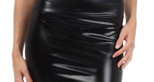 4. Sakkas Women's Shiny Metallic Liquid Mini Skirt