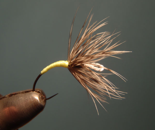 Sakasa Kebari on an eyeless tenkara hook