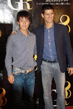 Kei Nishikori and Novak Djokovic at GR8 Fundraiser in Miami in 2011