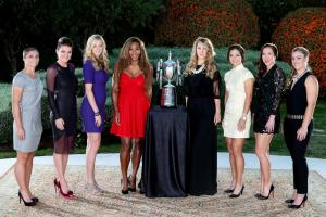 (L-R) Sara Errani of Italy, Agnieszka Radwanska of Poland, Petra Kvitova of Czech Republic, Serena Williams of USA, Victoria Azarenka of Belarus, Li Na of China, Jelena Jankovic of Serbia, and Angelique Kerber of Germany pose with the Billie Jean King trophy for the official photo of the TEB BNP Paribas WTA Championships-Istanbul (Photo by Matthew Stockman/Getty Images for WTA).