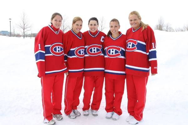 (L-R, Valerie Tetreault, Stephanie Dubois, Rene Simpson Collins, Sharon Fichman and Aleksandra Wozniak)
