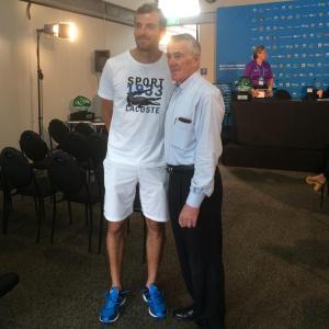 Julien Benneteau and Ken Rosewall at Sydney International draw ceremony