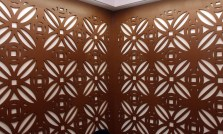 MARIO BARTEL Patterned walls bring a touch of elegance to the restaurant's private dining area.