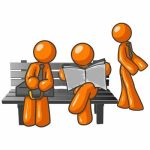 2450968-orange-men-sitting-on-a-park-bench-waiting-for-the-bus-or-something-while-catching-up-on-the-news