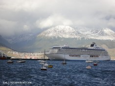Big cruise lines frequent the Ushuaia harbor on their Southern trips
