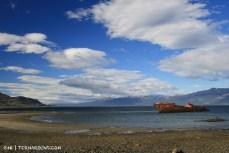Monte Cervantes resting in the bay at estancia Remolinos