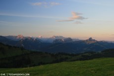 Sunrise over the Swiss mountains