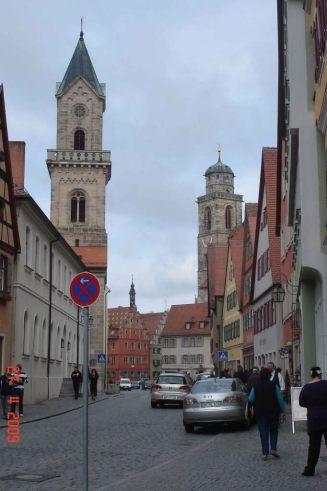 Dinkelsbuhl-Nordlinger Strabe,Karmeliterkloster on left, St George's Church on right