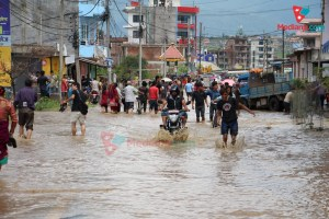 Streets of Bhaktapur Flooded With Excess Rainwater - TexasNepal