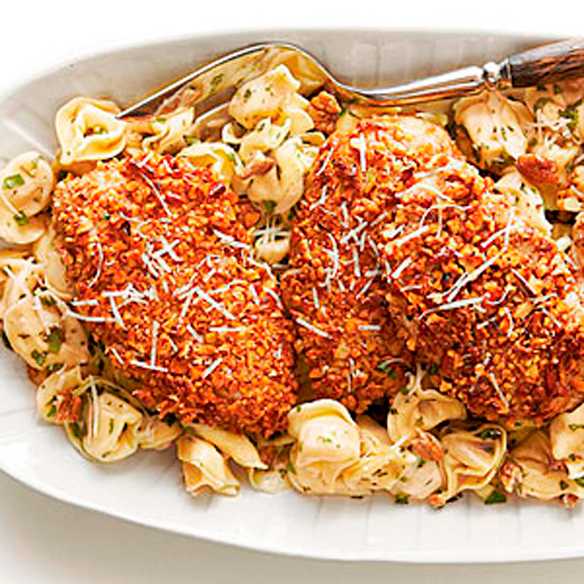 Pecan-Crusted-Chicken-and-Tortellini-with-Herbed-Butter-Sauce