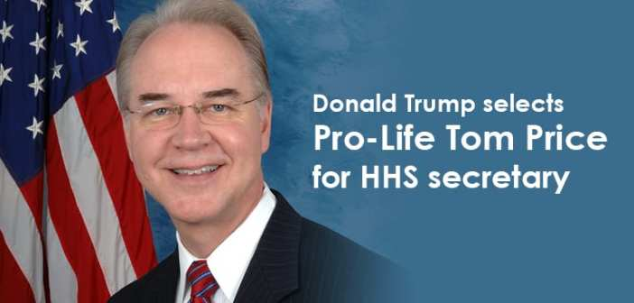 Trump selects Pro-Life Tom Price for HHS secretary