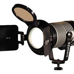 Ianiro-A197060AB-1972-2pk-Bicolor-Aladino-on-Camera-Light-with-D-Tap-and-Barndoor-Pack-of-2-Black-B01CO2K6X2